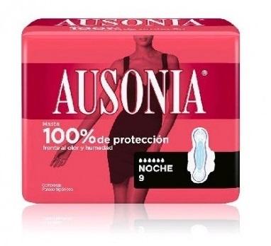 Ausonia Compresas Air Dry Noche Alas  9 Unidades