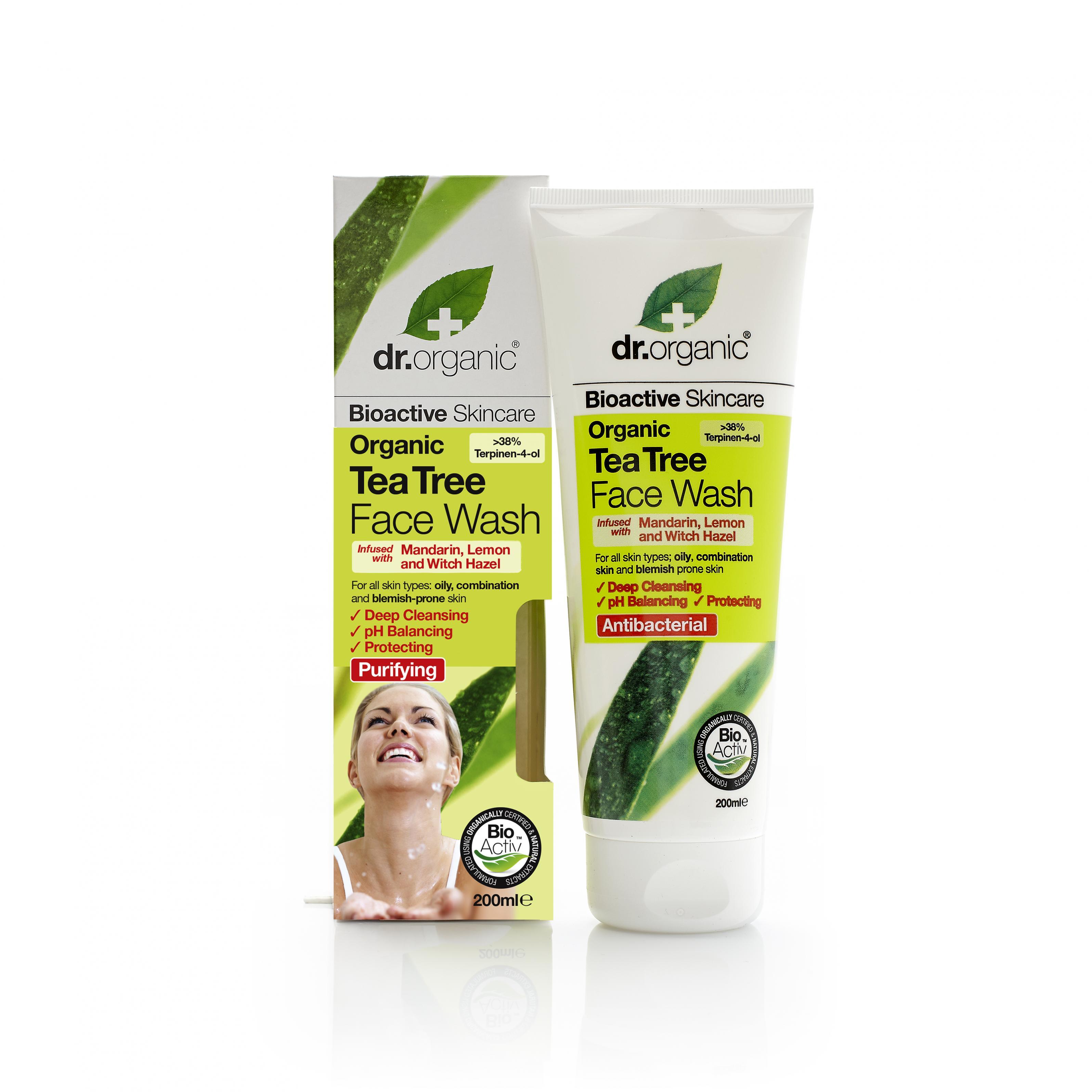 Dr. Organic Gel Limpiador Facial de Árbol de Té